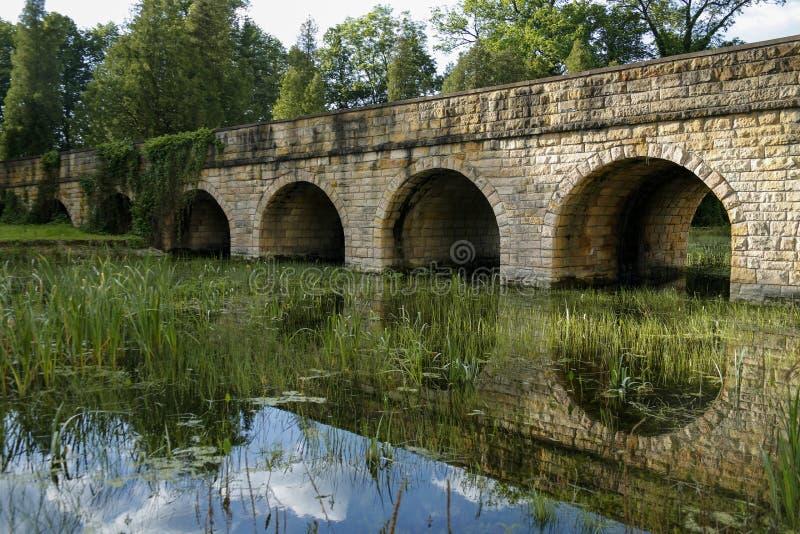 Каменный мост над перерастанным прудом стоковое фото