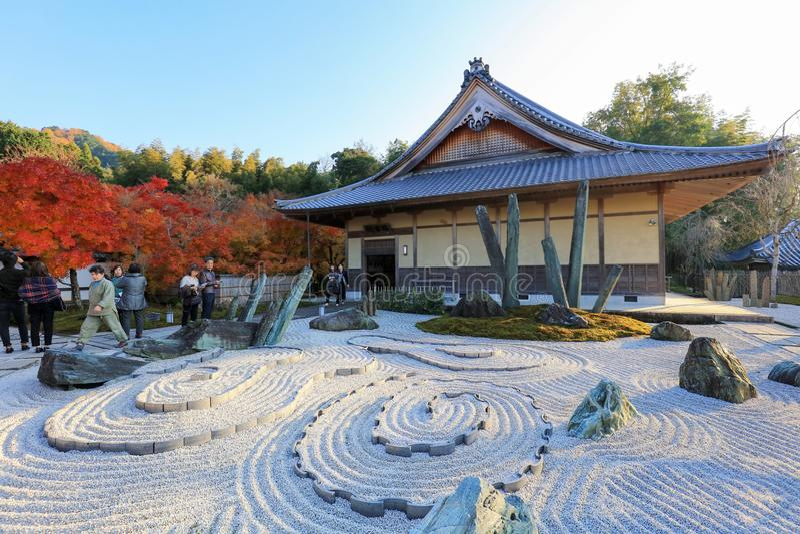 каменный сад на виске Киото Zuiganzan Enkouji стоковое изображение