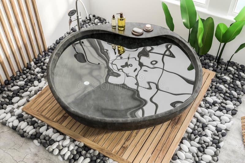 Каменный ушат в белом и деревянном bathroom иллюстрация штока