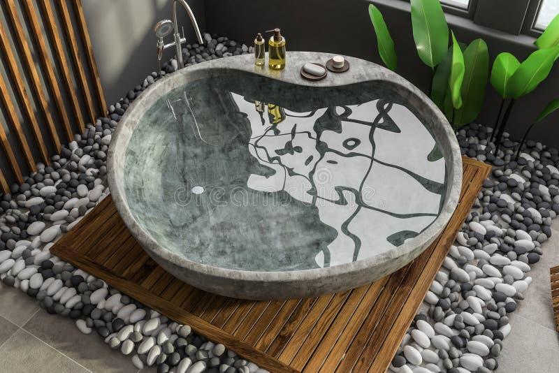 Каменный ушат в сером и деревянном bathroom иллюстрация вектора