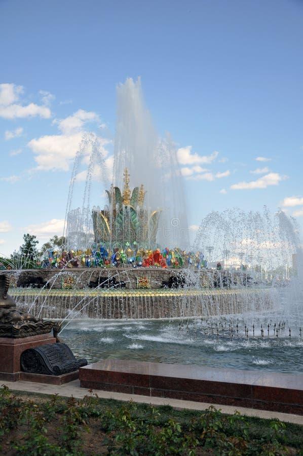Каменный фонтан на территории выставки достижений национальной экономики стоковая фотография