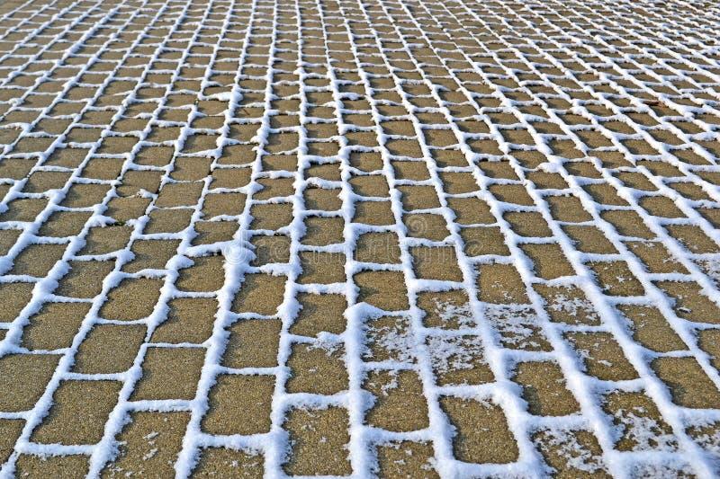 Камень с линиями под снегом, сезоном травы зимы, стоковые фотографии rf