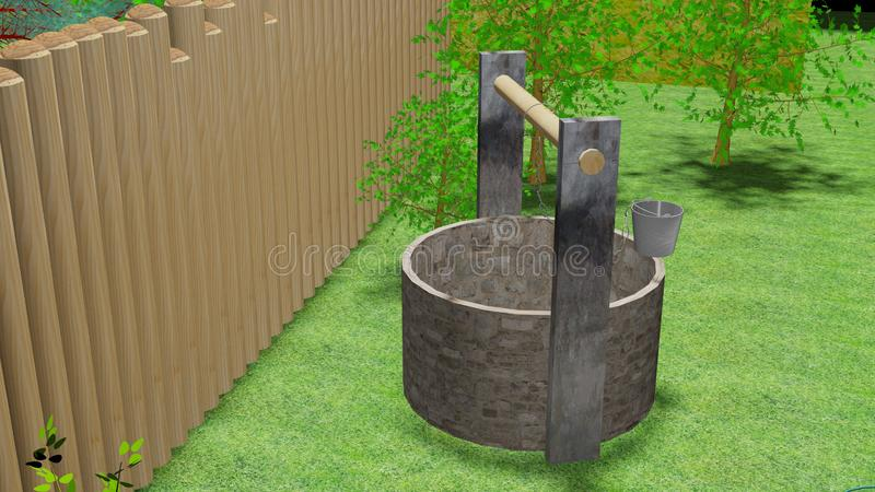 Камень хорошо старый в саде 3d стоковые изображения rf