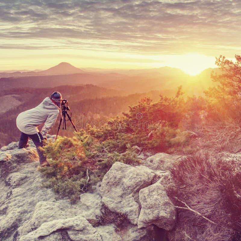 Камера владением DSLR женщины туристские и фото принимать стоковое изображение