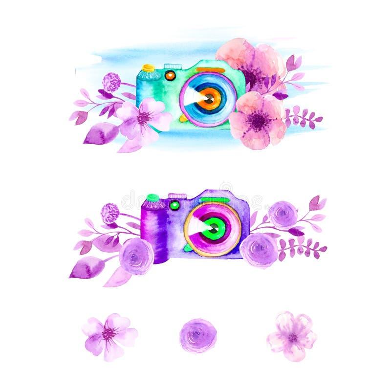 Камера в цвете, листья фото, ветви на белой предпосылке Дизайн акварели, плоский стиль бесплатная иллюстрация