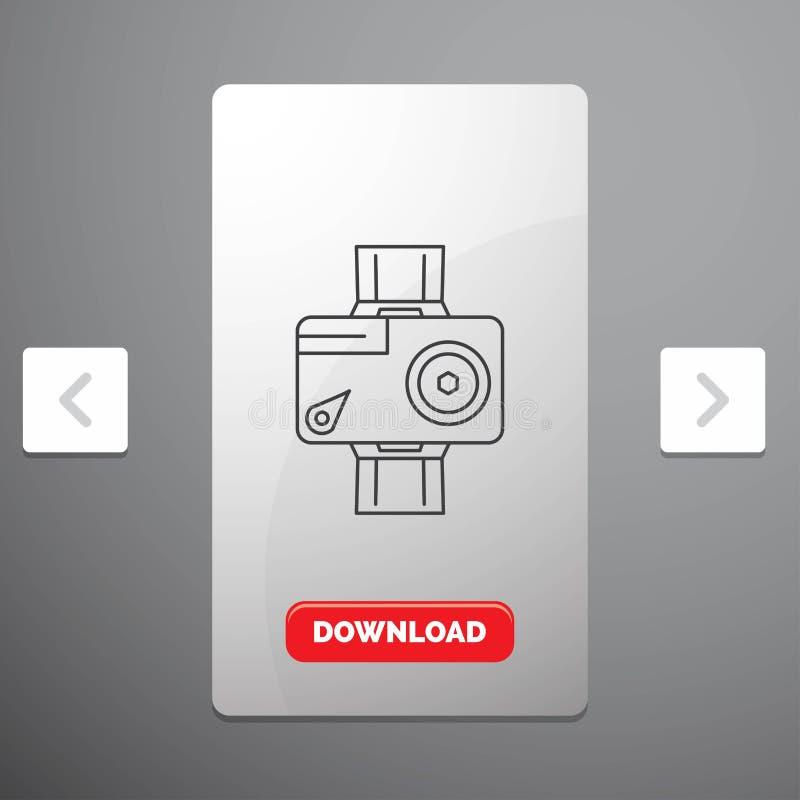 камера, действие, линия значок цифровых, видео-, фото в дизайне слайдера пагинаций Carousal & красная кнопка загрузки иллюстрация штока