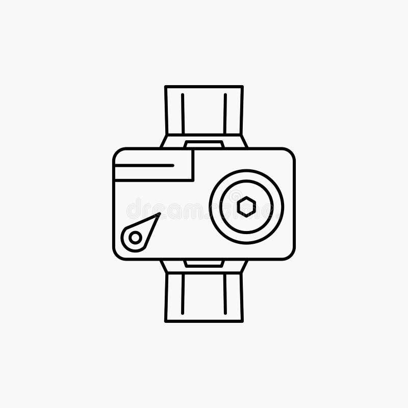 камера, действие, цифровой, видео-, линия значок фото Иллюстрация изолированная вектором иллюстрация вектора