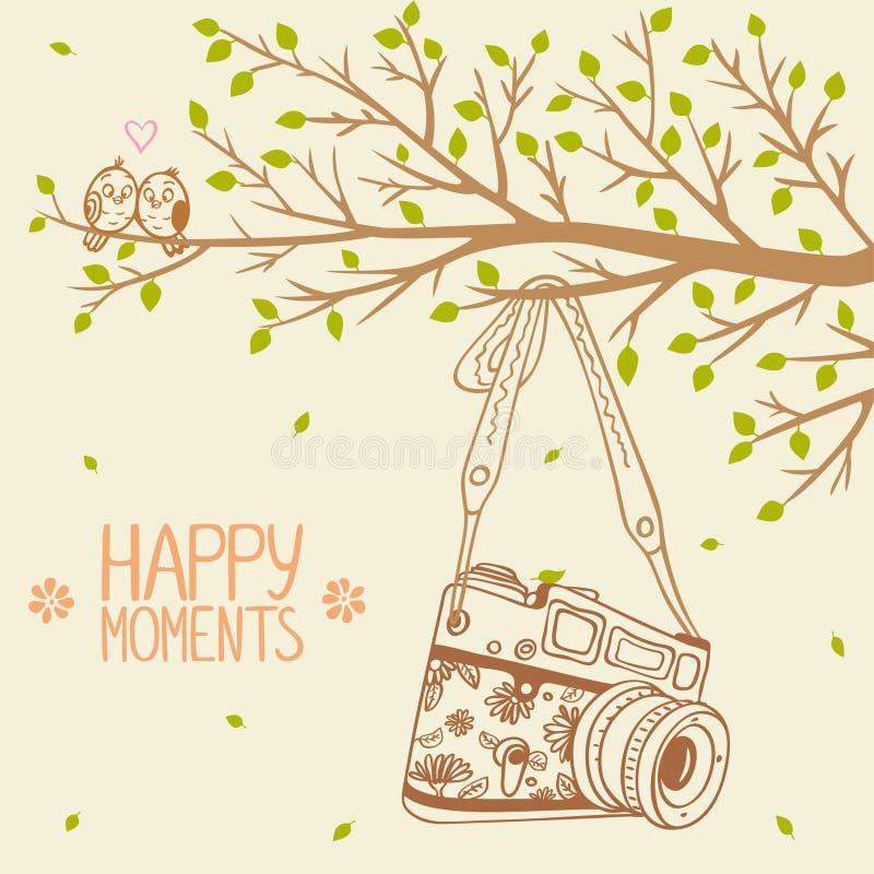 Камера и дерево иллюстрация штока
