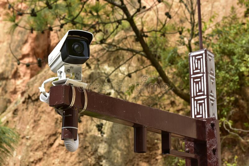 Камера наблюдения Китая в парке стоковое фото rf
