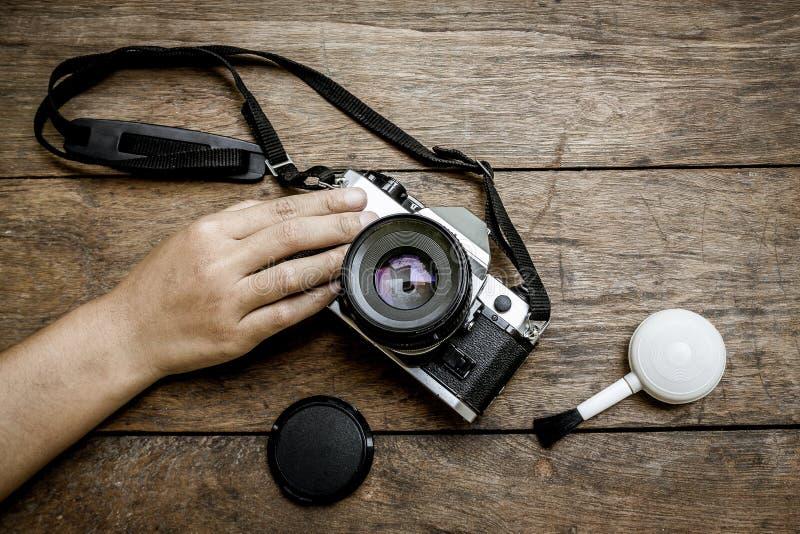Камера на деревянном стоковое изображение rf