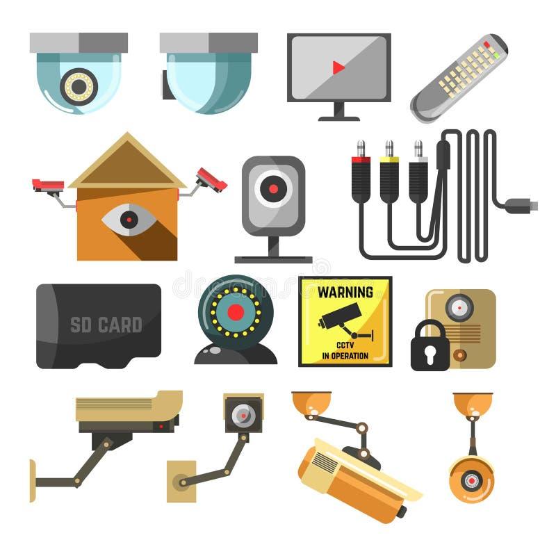 Камера слежения безопасностью дома или предпосылок или система CCTV иллюстрация вектора