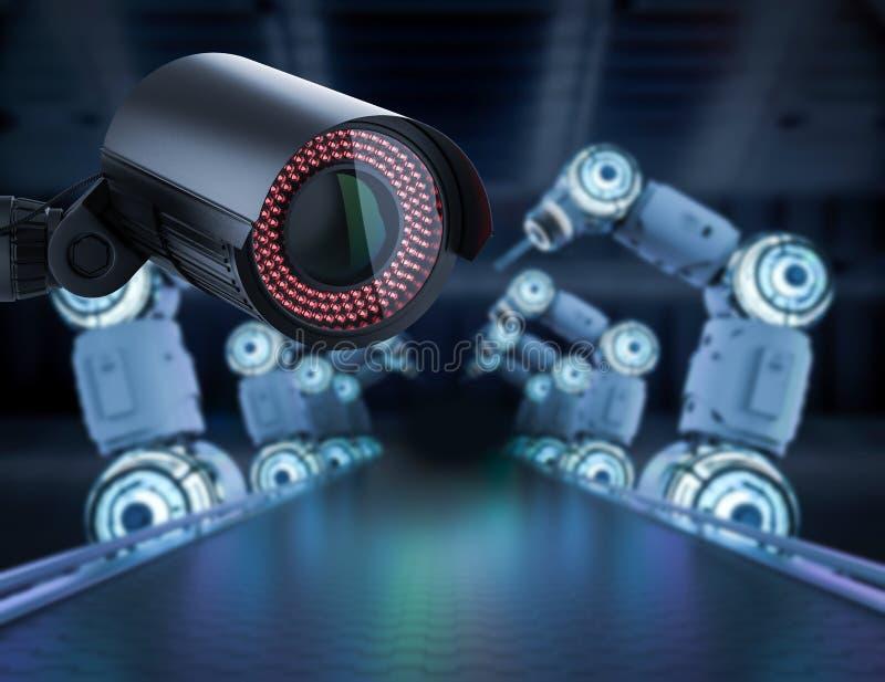 Камера слежения в фабрике иллюстрация вектора