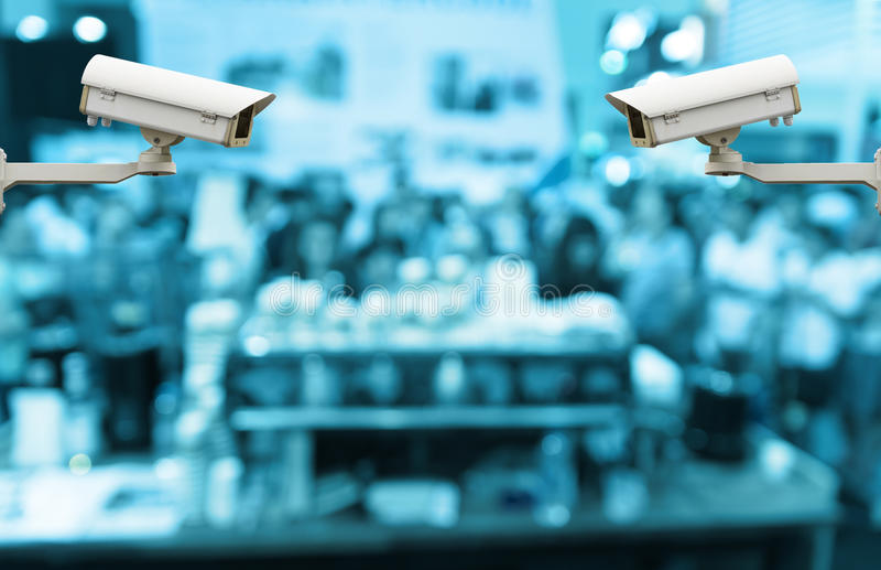 Камера слежения CCTV на мониторе конспект запачканный с представлением стоковое фото