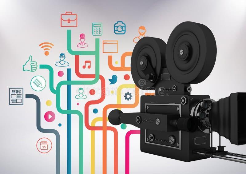 камера фильма 3D против серой предпосылки с социальными иллюстрациями значка средств массовой информации иллюстрация вектора