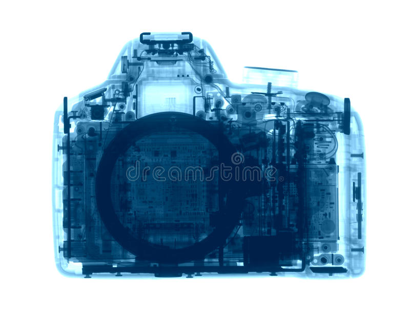 Камера фото DSLR под рентгеновскими снимками стоковые изображения