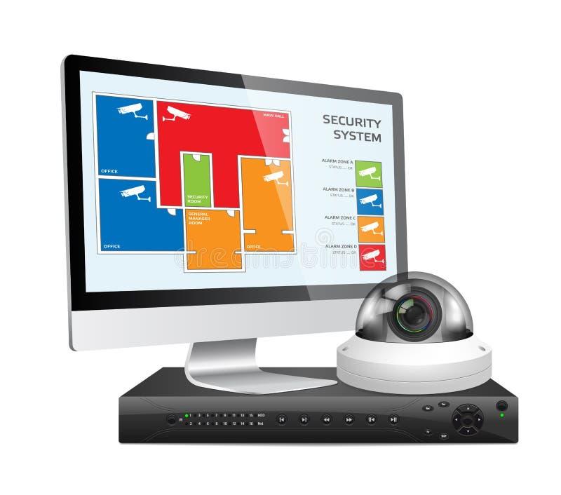 Камера CCTV и DVR - цифровое видеозаписывающее устройство - система безопасности иллюстрация штока