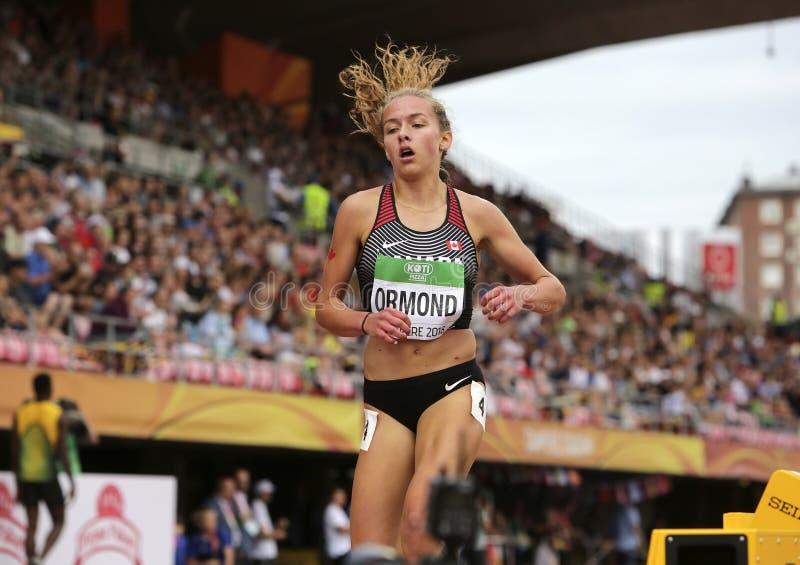 КАМЕРОН ORMOND от Канады был шестнадцатым в 3000 МЕТРАХ окончательных на чемпионатах мира U20 IAAF внутри стоковое фото rf