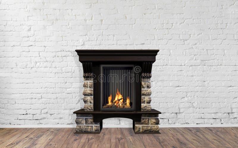Камин камня горящий в ярком пустом интерьере живущей комнаты дома стоковое изображение