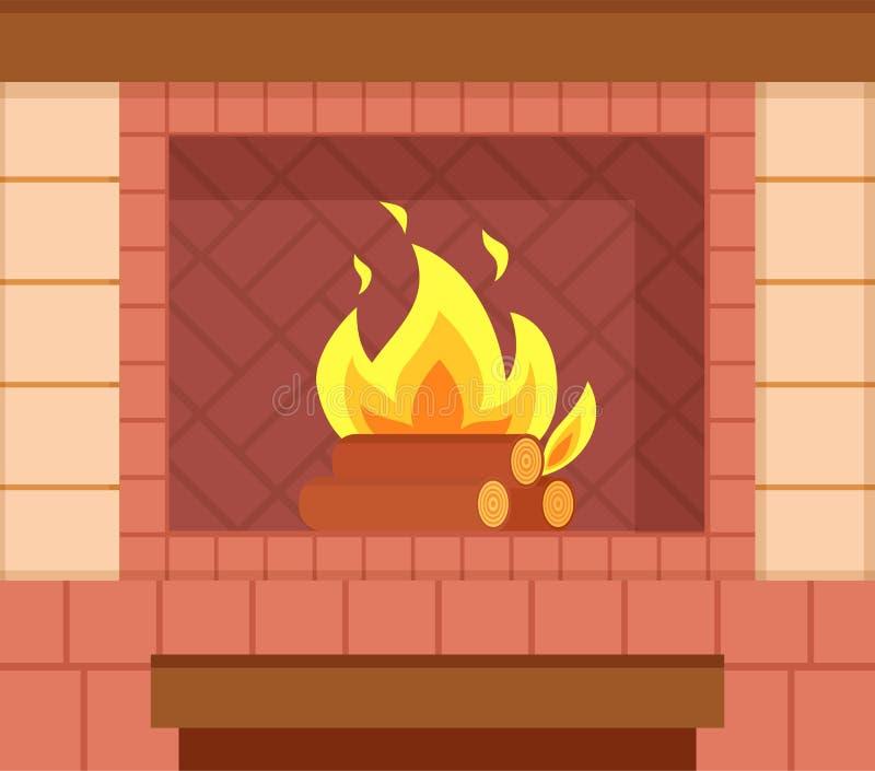 Камин кирпича, деревянные журналы, яркий горящий огонь бесплатная иллюстрация