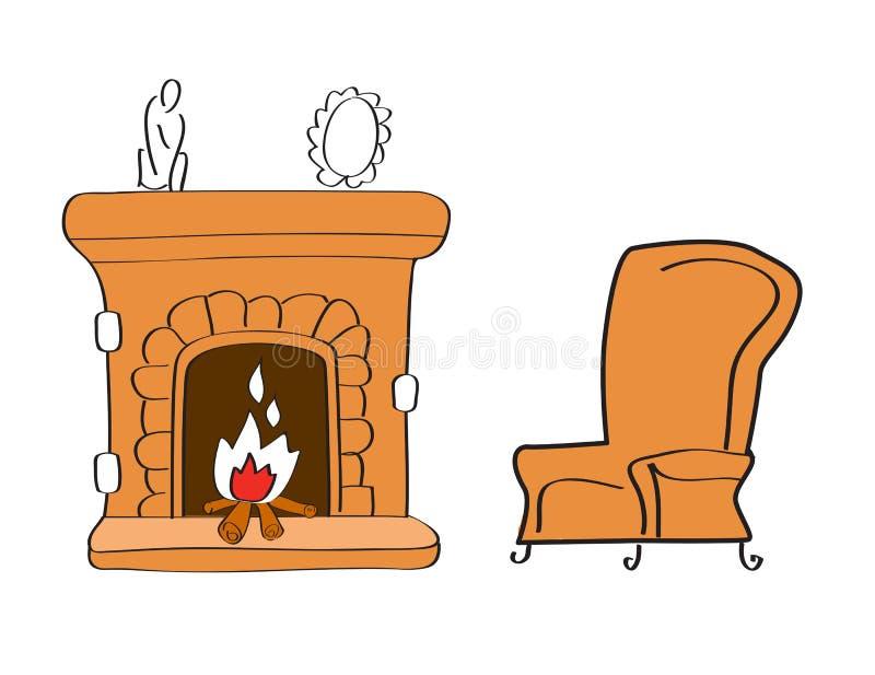 камин стула иллюстрация штока