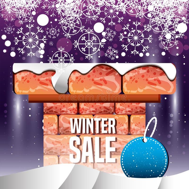 Камин с ландшафтом зимы и продажей рождества иллюстрация штока