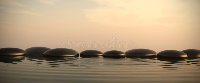 Камни Дзэн в воде на восходе солнца иллюстрация вектора