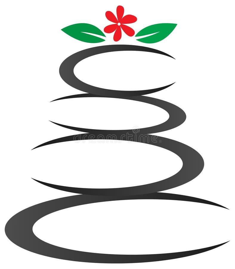 Камни Дзэн рисуя дизайн логотипа иллюстрация вектора