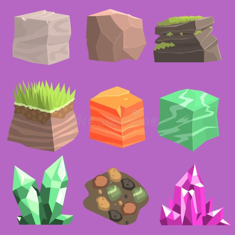 Камни и дизайн элементов земли иллюстрация штока