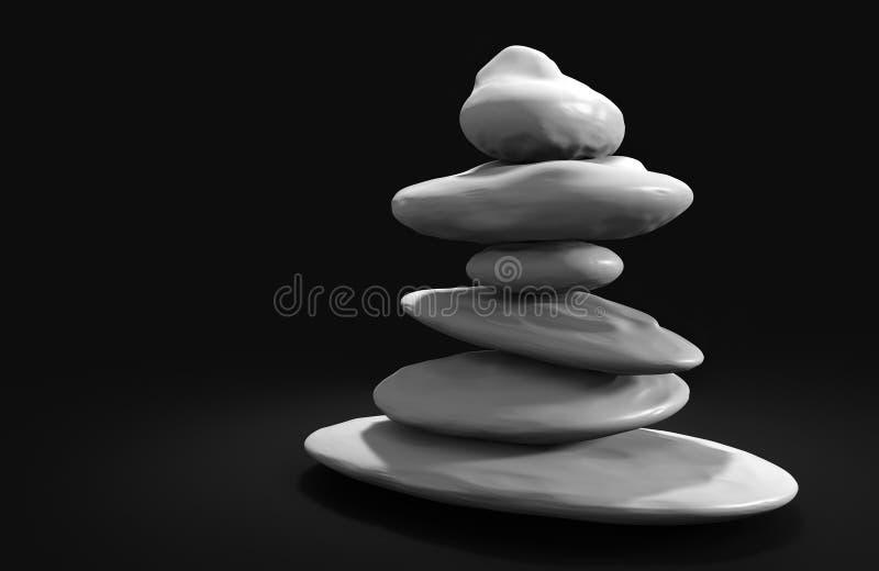Камни курорта сбалансировали в башне, представленной в 3D иллюстрация штока
