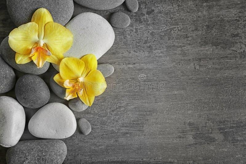 Камни курорта с цветками орхидеи стоковые фотографии rf