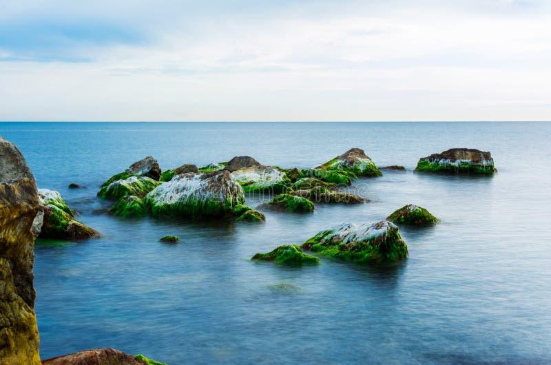 Камни покрытые с мхом в море на летний день, seascape стоковая фотография rf