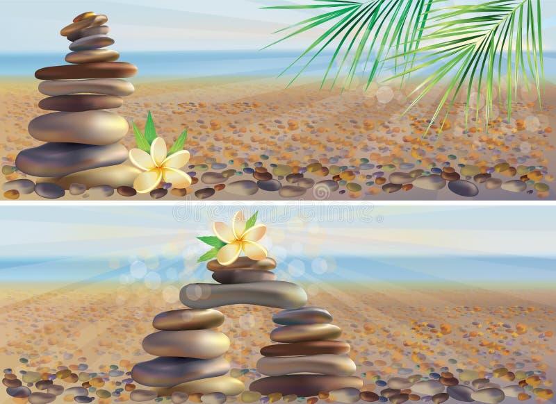 камни спы массажа знамен горизонтальные бесплатная иллюстрация
