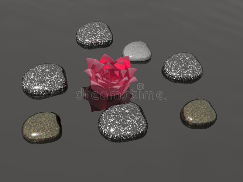 Камни спы с цветком бесплатная иллюстрация
