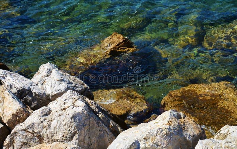 Камни, трудные коричневые утесы и прозрачная вода, предпосылка стоковая фотография
