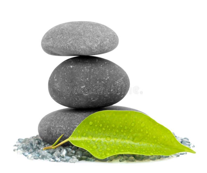 камни штабелированные листьями стоковое фото