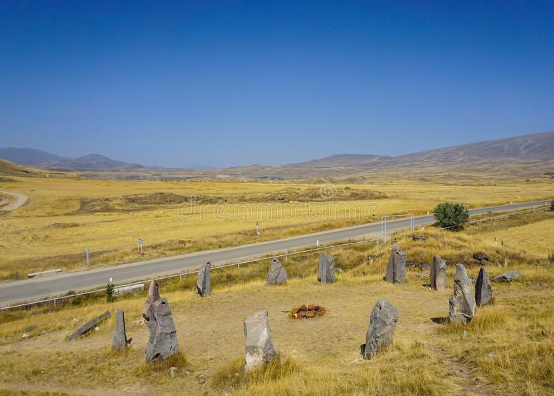 Камни Sisian Zorats Karer Стоунхендж стоковые изображения rf