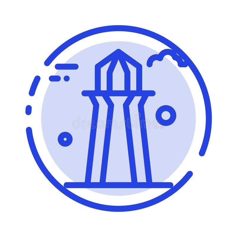 Канада, башня Co, башня Канады, строя линия значок голубой пунктирной линии иллюстрация штока