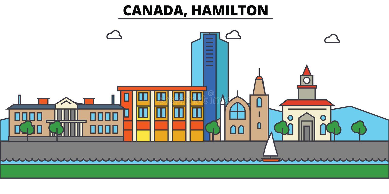 Канада, Гамильтон Архитектура горизонта города editable иллюстрация вектора