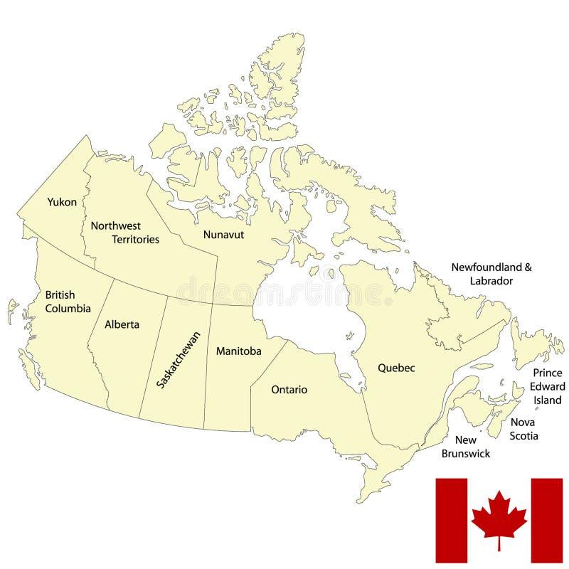 Канада детализировала карту иллюстрация вектора