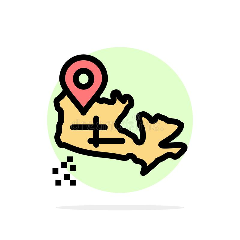 Канада, карта, предпосылки круга положения значок цвета абстрактной плоский иллюстрация штока