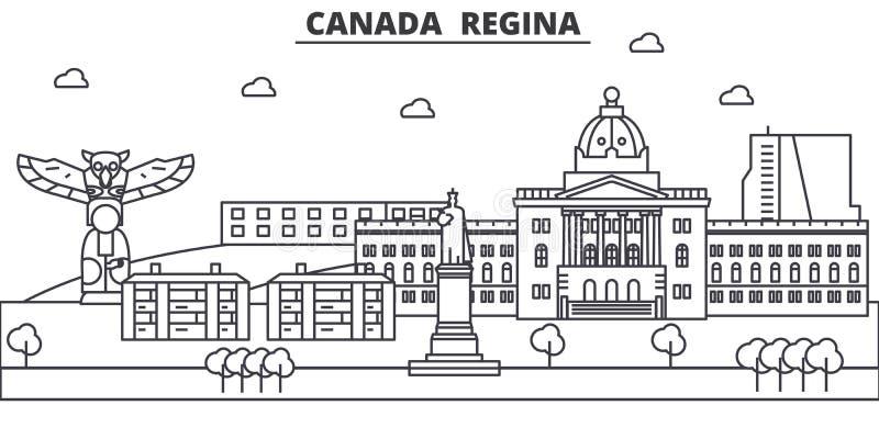 Канада, линия иллюстрация архитектуры Регины горизонта Линейный городской пейзаж с известными ориентир ориентирами, визирования в иллюстрация вектора