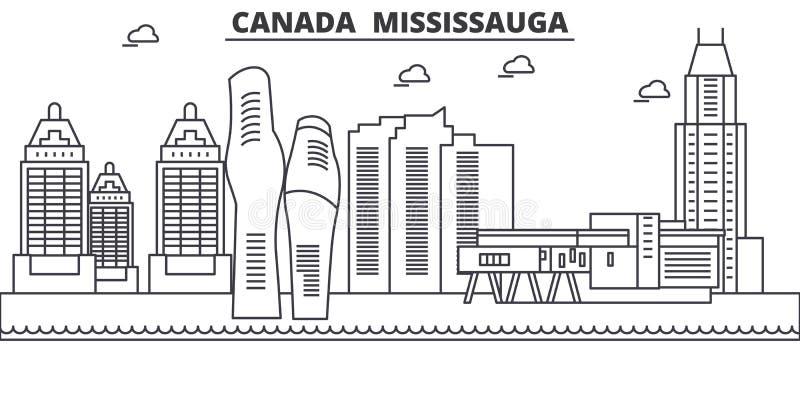 Канада, линия иллюстрация архитектуры Mississauga горизонта Линейный городской пейзаж с известными ориентир ориентирами, визирова иллюстрация штока