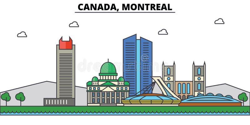 Канада, Монреаль Архитектура горизонта города editable иллюстрация штока
