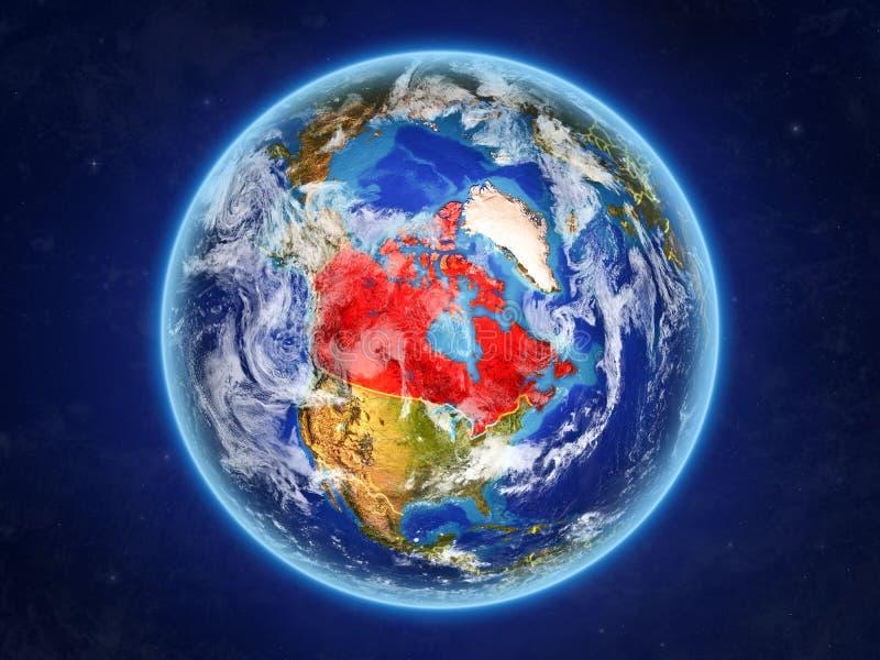 Канада на земле от космоса иллюстрация штока