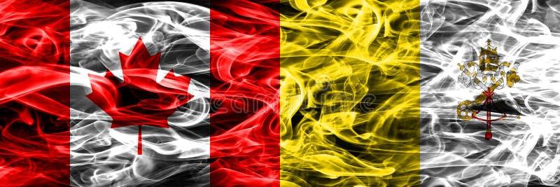 Канада против дыма государства Ватикан сигнализирует помещенную сторону - мимо - сторона канадско иллюстрация вектора