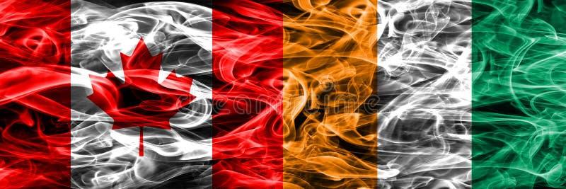 Канада против дыма Кот-д'Ивуар сигнализирует помещенную сторону - мимо - сторона канадско бесплатная иллюстрация