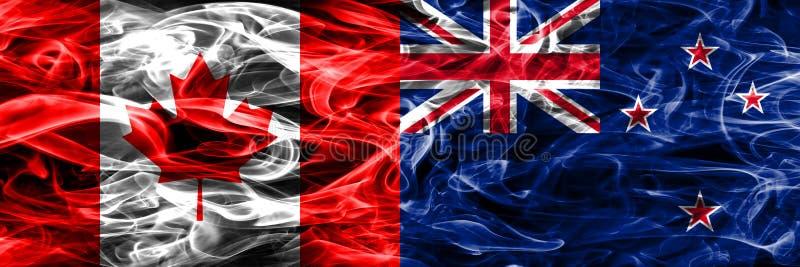 Канада против дыма Новой Зеландии сигнализирует помещенную сторону - мимо - сторона канадско иллюстрация штока