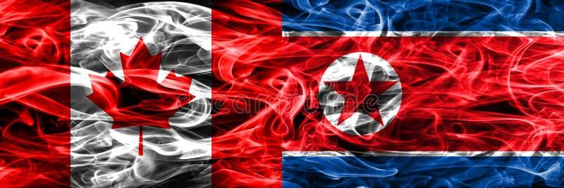 Канада против дыма Северной Кореи сигнализирует помещенную сторону - мимо - сторона канадско бесплатная иллюстрация