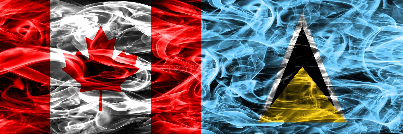 Канада против дыма Сент-Люсия сигнализирует помещенную сторону - мимо - сторона канадско иллюстрация штока