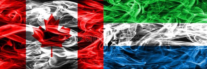 Канада против дыма Сьерра-Леоне сигнализирует помещенную сторону - мимо - сторона канадско иллюстрация штока
